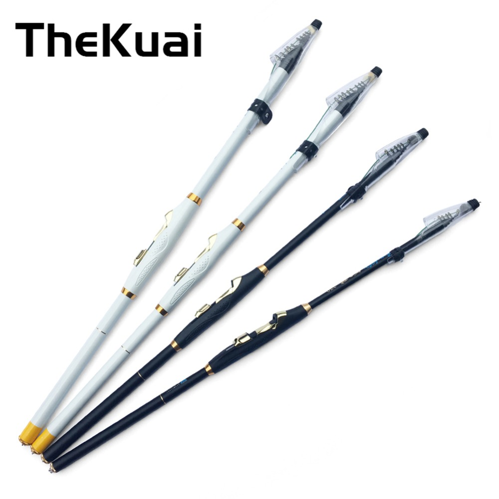 TheKuai Hard 2.7/3.6/4.5/5.4/6.3Meters Rock Hand Pole Carbon Fiber Telescopic Spinning Fishing Rods Fish Tackle Black/White