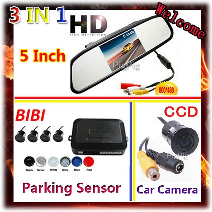 5 Inch LCD Car Monitor Mirror View Rearview Auto LCD Screen Backup Car Camera for Car Parking Sensor 7 Color Probes
