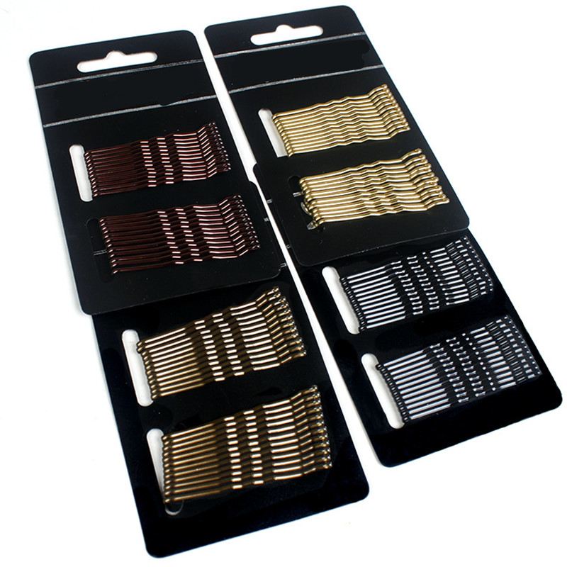 24pcs/lot Women 4 Colors Hair Grips Salon Invisible Hairpins Curly Wavy Bobby Pins For Daily Use And Wedding Hair Maker