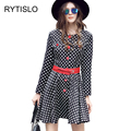 Rytislo mujeres vintage a-line dress lovely dots cuello redondo mini dress mujer señoras elegantes primavera dress con cinturón