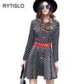 Rytislo mujeres vintage a-line dress lovely dots cuello redondo mini dress mujer señoras elegantes primavera dress con cinturón