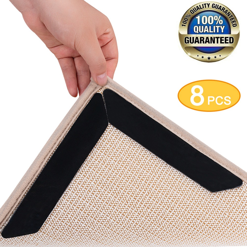 8pcs rug grippers tape anti slip rug pad gripper stops. Black Bedroom Furniture Sets. Home Design Ideas