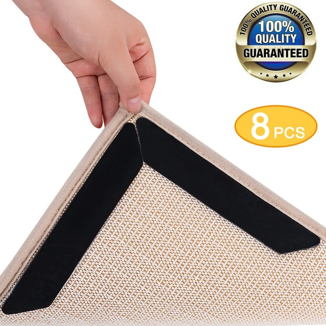 8pcs Rug Grippers Tape Anti Slip Rug Pad Gripper Stops Carpet Slipping Make Corners Flat Bathroom Premium Rug Renewable Grippers