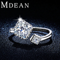 MDEAN Opened Size Cute Style Party Rings For Women White Gold Plated Jewelry AAA CZ Diamond Bague Accessories Bijouterie MSR316