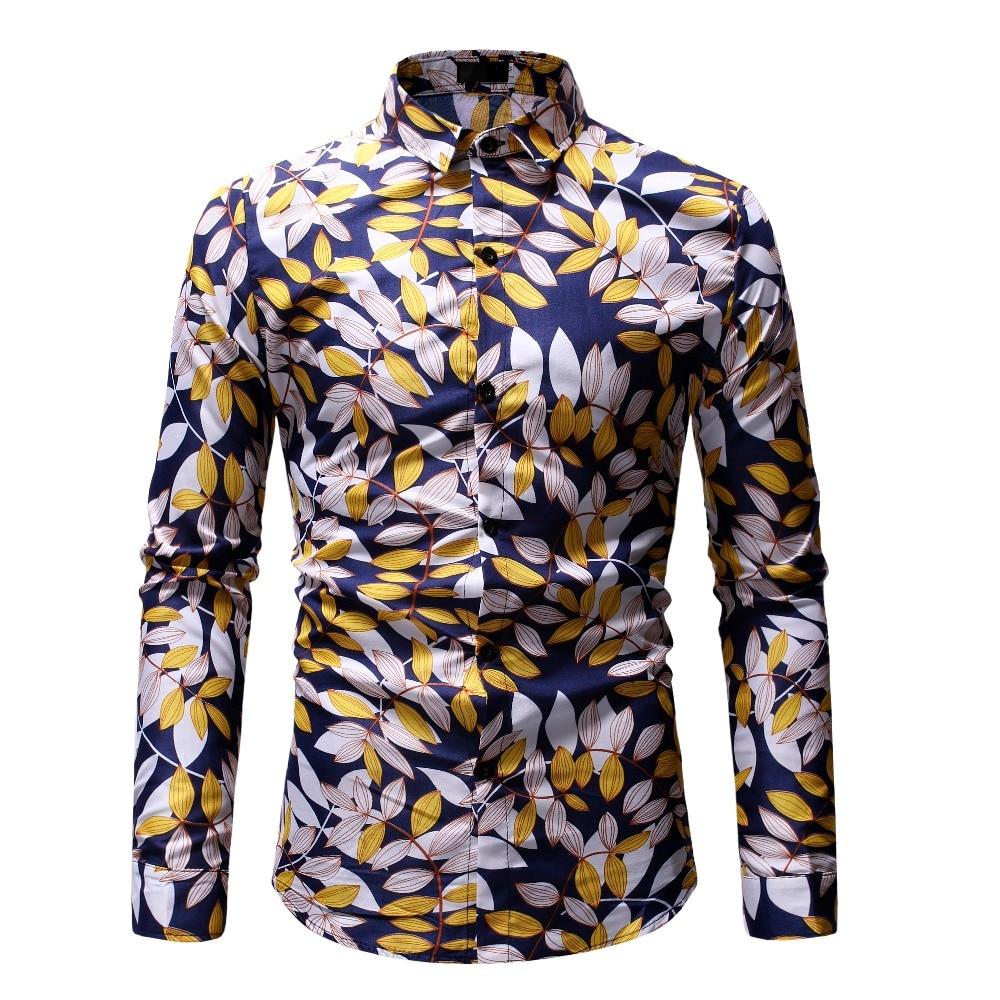 Casual Plaid Men Shirt Spring Autumn Long Sleeve Shirt Hawaiian Floral Shirt Soft Comfort Slim Fit Mens Clothing Plus Size M-3XL 3