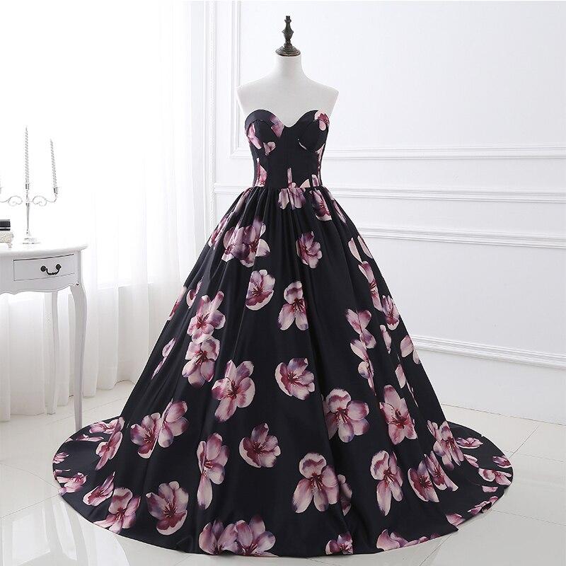 Em Estoque vestido de Noite Longo Vestidos Impresso Floral A Linha Querida Formal Prom Dress For Women Partido Robe De Soirée Foto Real