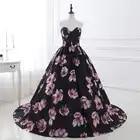 Em Estoque vestido de Noite Longo Vestidos Impresso Floral A Linha Querida Formal Prom Dress For Women Partido Robe De Soirée Foto Real - 1