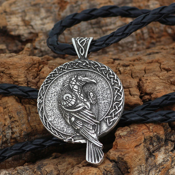 Nordic Norse Viking Raven Amulet Rune Circle Pendant Necklace  Viking Necklace