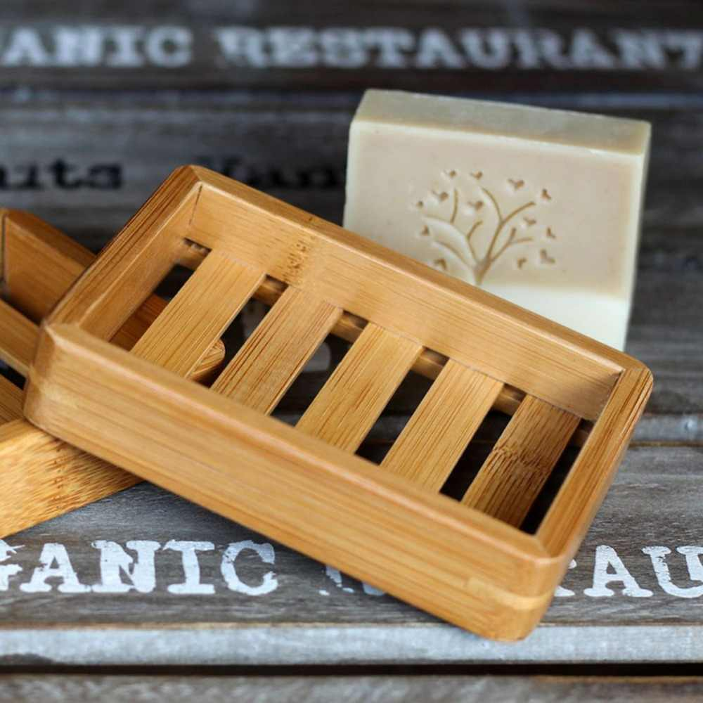 Wooden Natural Bamboo Soap Dishes Tray Holder Storage Soap Rack Plate Box Container Bathroom Japanese style soap soap box