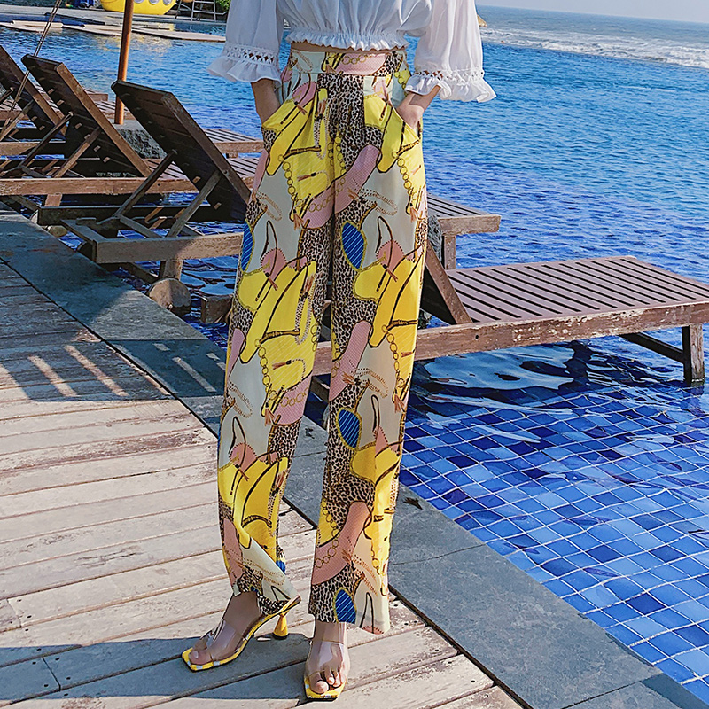 Real shot 2019 new fashion holiday Thailand big size   pants   Bohemian   wide     leg     pants   travel beach   pants