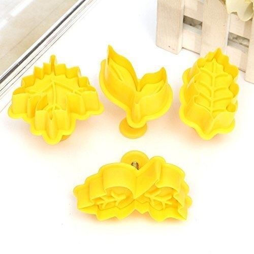 4Pcs/set Plunger Cookie Cutter Kit DIY Fall Maple Leaf Cake Mold Flower Plungers Fondant Pastry Craft Food Decor