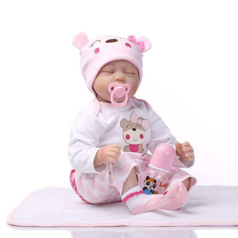 doll alive reborn doll with soft real gentle touch Free shipping lifelike soft silicone vinyl with pink bear clothes doll цена