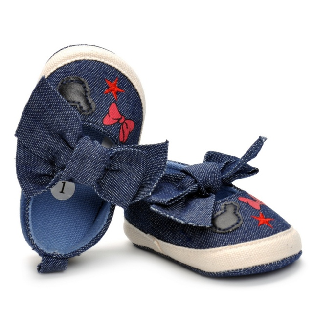 2019 Cute Shoes Baby Canvas Print Baby Shoes Moccasins Cute Bow Soft Sole Prewalkers Summer Toddler Infant Girls Shoes 2018 2