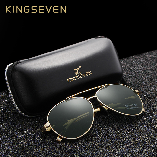 e936810071 KINGSEVEN 2018 New Aviation Gun Gradient Sunglasses Brand Men Design Sun glasses  Polarized HD Aluminum Driving