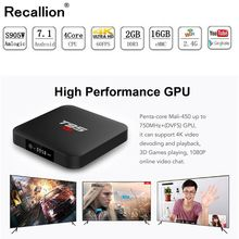 Android 7.1 Smart TV BOX S905W Quadcore 2G DDR3 16G EMMC ROM Set Top Box 4K 3D H.265 Wifi media player TV Receiver play store