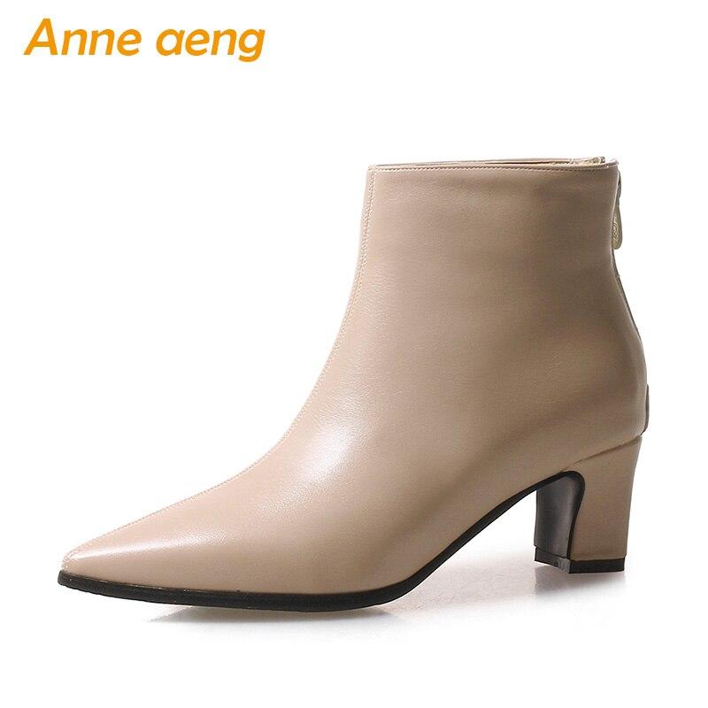 0745731e 2018 nuevo invierno mujeres botines talón medio cremallera en Punta Sexy  señoras Mujer Zapatos Beige calzado botas cortas de gran tamaño