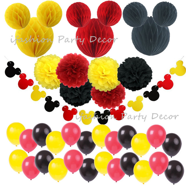 Mickey mouse party decoration kit colourful paper garland honeycomb mickey mouse party decoration kit colourful paper garland honeycomb balls red yellow black paper flowers mightylinksfo