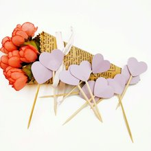 6pcs/set Flower purple shapped Cake Inserted Card with Toothpick Cake Decoration for Wedding Birthday Party Gift toothpick eternal love wedding cake inserted card decoration