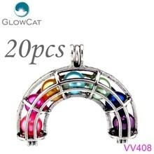 Здесь можно купить   20pcs Vintage Rainbow Beads Cage Essential Oil Diffuser Aromatherapy Pearl Cage Locket Pendant Charms Jewelry Making 2 Sizes Fashion Jewelry