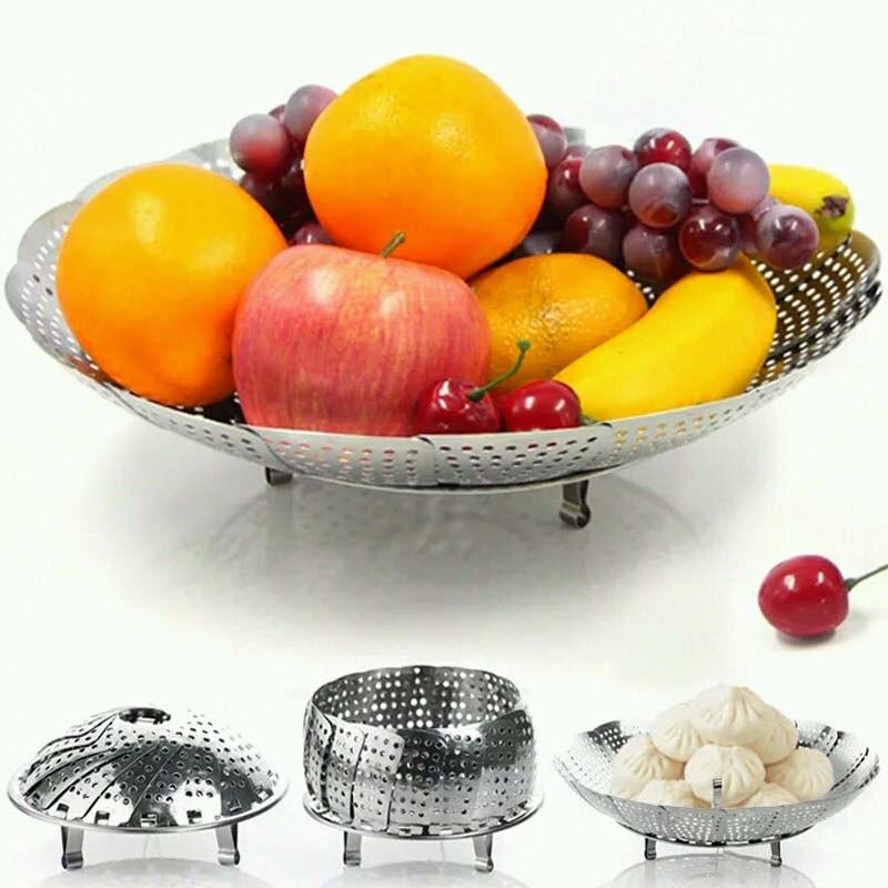 21/26/28cm Stainless Food Steamer Steaming Rack Drawer Kitchen Folding Steamer Bowl Vegetable Fruit Steamer Basket ZQ679584