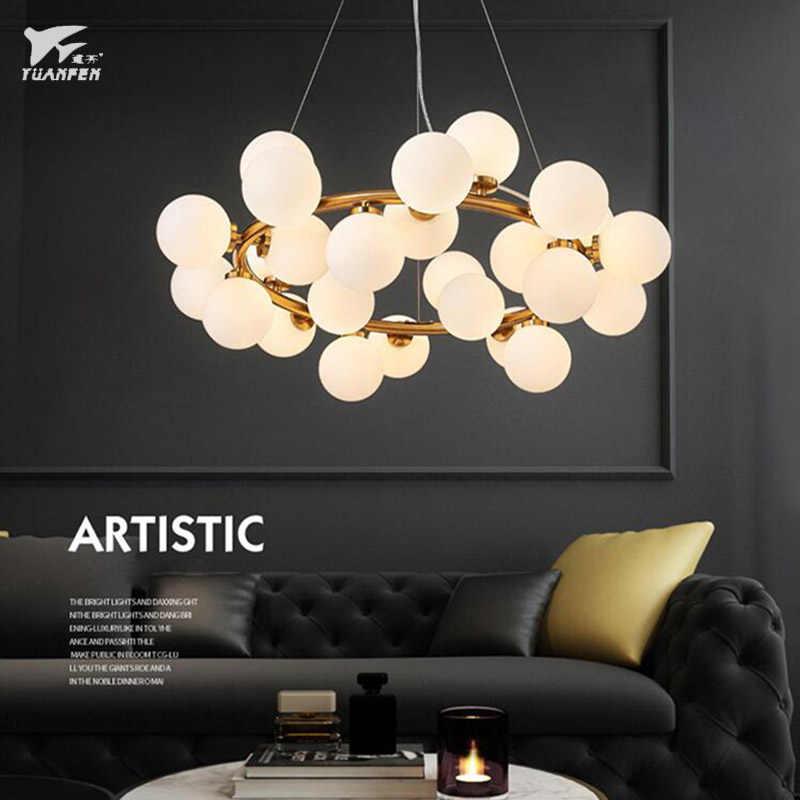 Современная chandeli Волшебная стеклянная люстра со светодиодами молекулярная структура 25 огней освещение для гостиной лампа