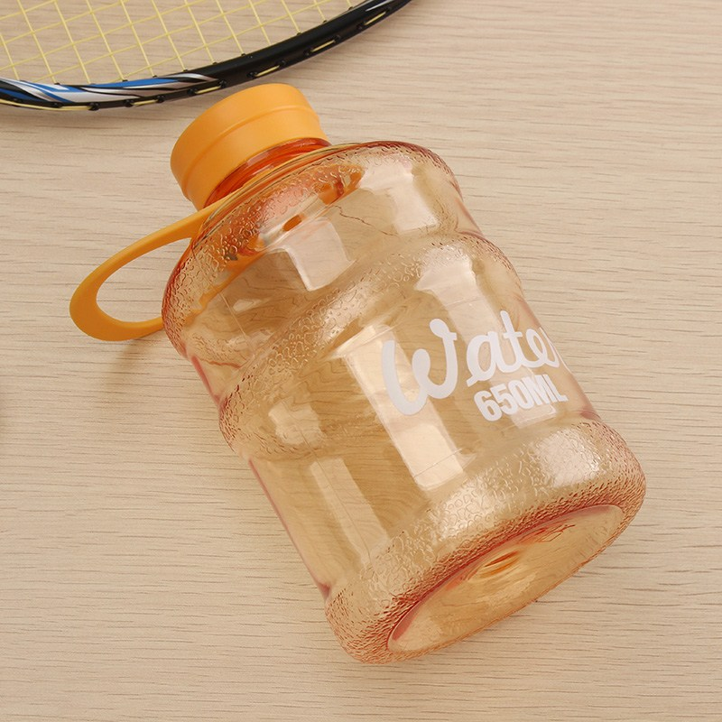 YKPuii Mini Barrelled Water Bottle 650ml Sport Bottle Leak Proof Kettle Plastic Drinking Kettle Clear Outdoor Gym Travel Picnic