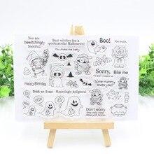 Хэллоуин прозрачный чистый силикон штампы для DIY Скрапбукинг/изготовление карт/Детские ремесла забавное украшение поставки