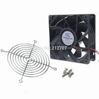 12038 12CM Dual Ball 120MM 12V DC High Wind Pressure Fan Cooling Cooler W/ Fan Grill & Screws