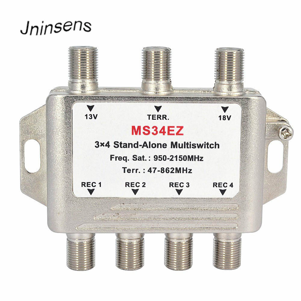 3 In 4 Out Satellite DiSEqC Stand-Alone Multiswitch Splitter 3x4 Satellite Switch FTA TV LNB Switch For Smatv DVB-S2 DVB-T2