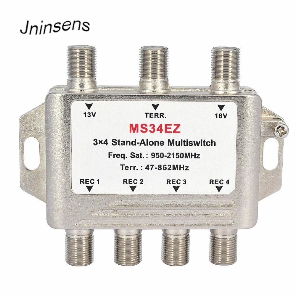 3 em 4 Fora Multiswitch Satélite DiSEqC Stand-Alone 3x4 Interruptor Satélite FTA TV LNB Mudar Splitter para Smatv DVB-S2 DVB-T2