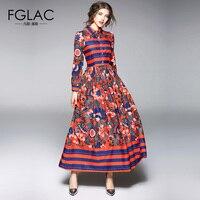 FGLAC Women Dress New Arrivals 2018 Spring Long Sleeved Chiffon Dress Elegant Slim Vintage High Waist