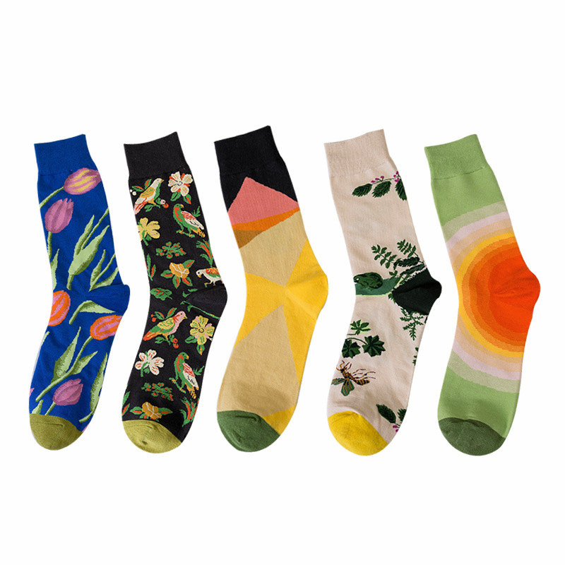 6 Colors Women Happy Socks High Quality Combed Cotton Bird/tulip/rainbow/lotus Animals Funny Casual Sock 1 Pairs