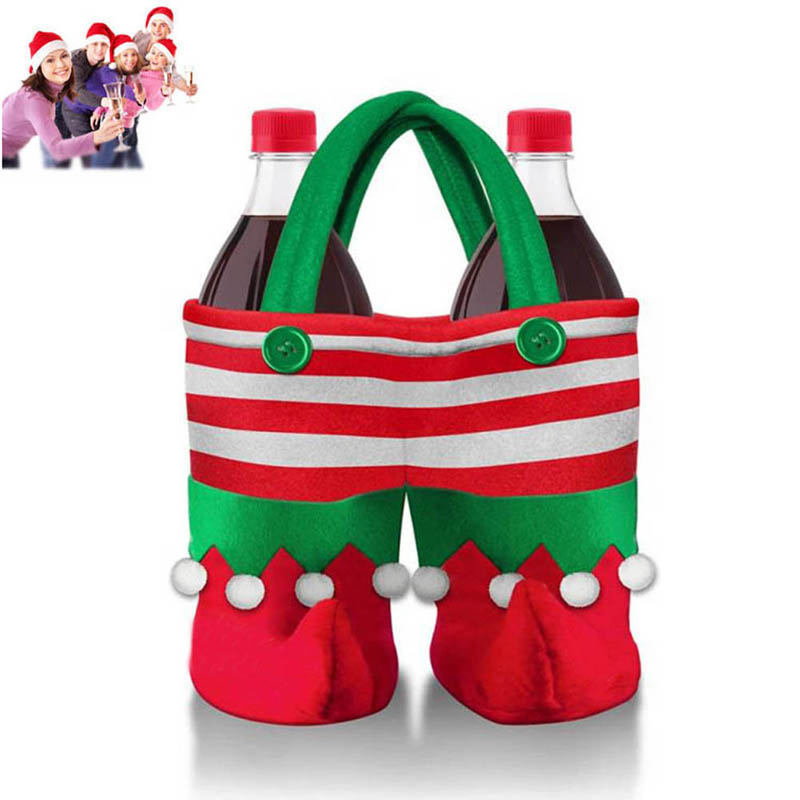 Christmas Santa Wine Bottle Bag Gift Holder Drink Pouches Cover Xmas Dinner Party Table  ...