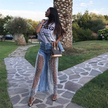 Summer Fashion Star Sequined Mesh Stitching suprem Jeans Women Fashion Wild-Leg Casual Ladies Long Irregular Perspective Jeans