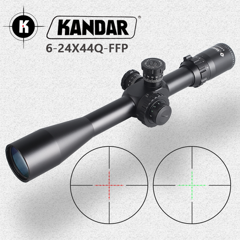 KANDAR 6-24X44 Q FFP Tactical Riflescope Red Green Illuminated Rifle Scope Sniper Optic Sight Hunting Scopes Rifle Air Red Dot