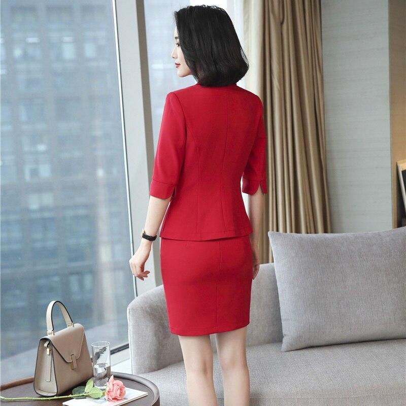 Femmes D'affaires Designs Jupe Vêtements Nouveaux Blazer Red Printemps Blue Costumes De Styles dark Définit Tops black Uniforme Travail Blazers Automne Avec 2018 Et Pour OXqz66