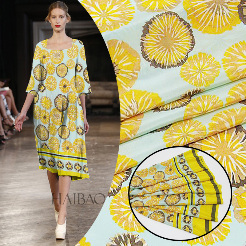 114cm wide 12mm 100% natural silk fabric crepe de chine high digital printing fabric factory direct sales yellow