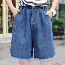 2019 Summer New Loose Wide Leg Pants Female Five Points Raw Jeans Knee Length Casual Loose Wide Leg Pants Flat striped side wide leg raw hem jeans