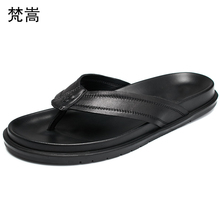 Slippers Mens summer outdoor flip-flops trend Korean version Men personality Genuine Leather Beach shoes all-match cowhide male 2017 tba 1515 men s breathable korean version trend flats summer autumn genuine leather student fashion all match walking shoes