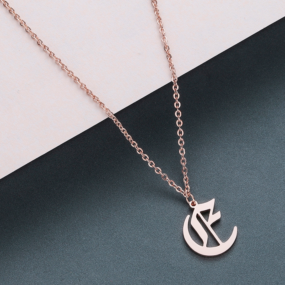 Todorova Old English Custom Capital Initial A-Z Letter Pendant Necklace Men Vintage Font Personalized Necklace Women Jewelry 13