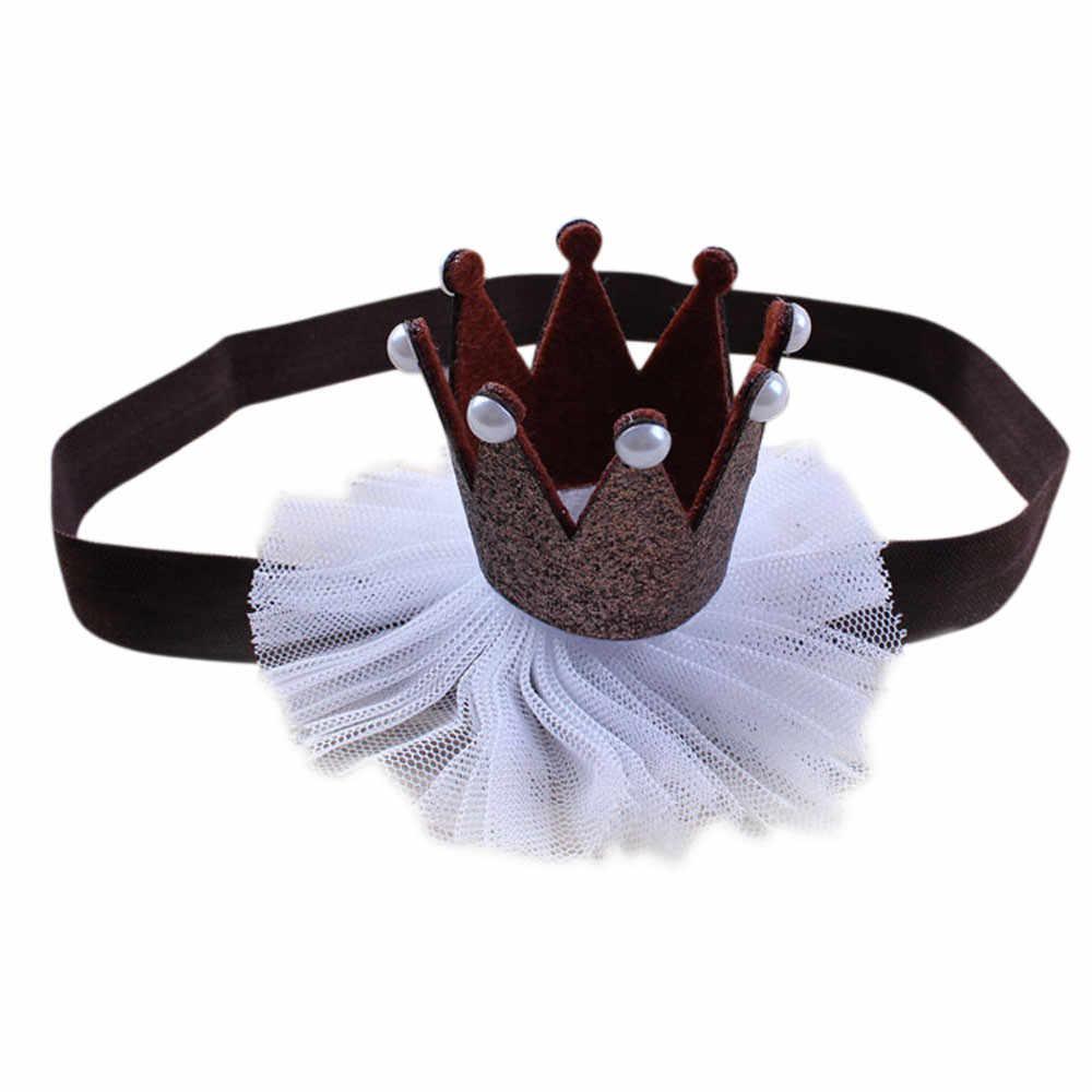 Chica bebé elástico flor corona diademas para chicas accesorios de la cabeza de la bebé de la princesa de la reina de diamantes de imitación Tiara venda del pelo *