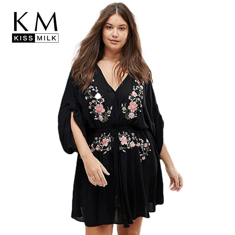 Kissmilk Plus Size Women Dress Waist Tie Floral Embroidery Three Quarter Sleeve V-neck A-line Summer Midi Dress Women