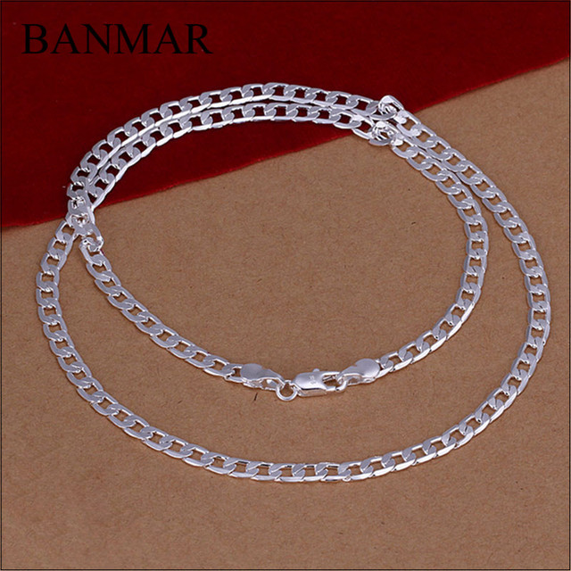 BANMAR Vintage 4MM Thickness Silver Necklace Figaro Link Chain Necklace Men Women  16 18 20 22 24 26 28 30 Inches Necklace a8546cef7