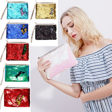 Glamour Mermaid Sequin Cosmetic Bag Travel Clutch Portable Makup Neceser Women Fashion Zipper Toiletry Kit Beauty