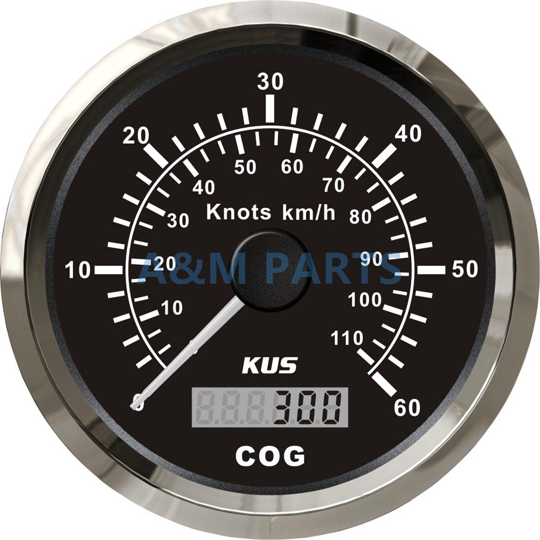 Mercury Inboard Analog Gauges Blk 6K Tach speed temp trim volts oil fuel hour