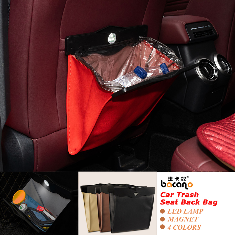 Led Dual-use Storage Bag Car Vehicle Trash Rubbish Bin Garbage Can Styling Dust Case Seat Back Bag For <font><b>KIA</b></font> Ashtray Barrel image