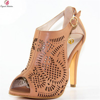 Original Intention New Stylish Women Sandals Fashion Open Toe Spike Heel Sandals Elegant Camel Shoes Woman