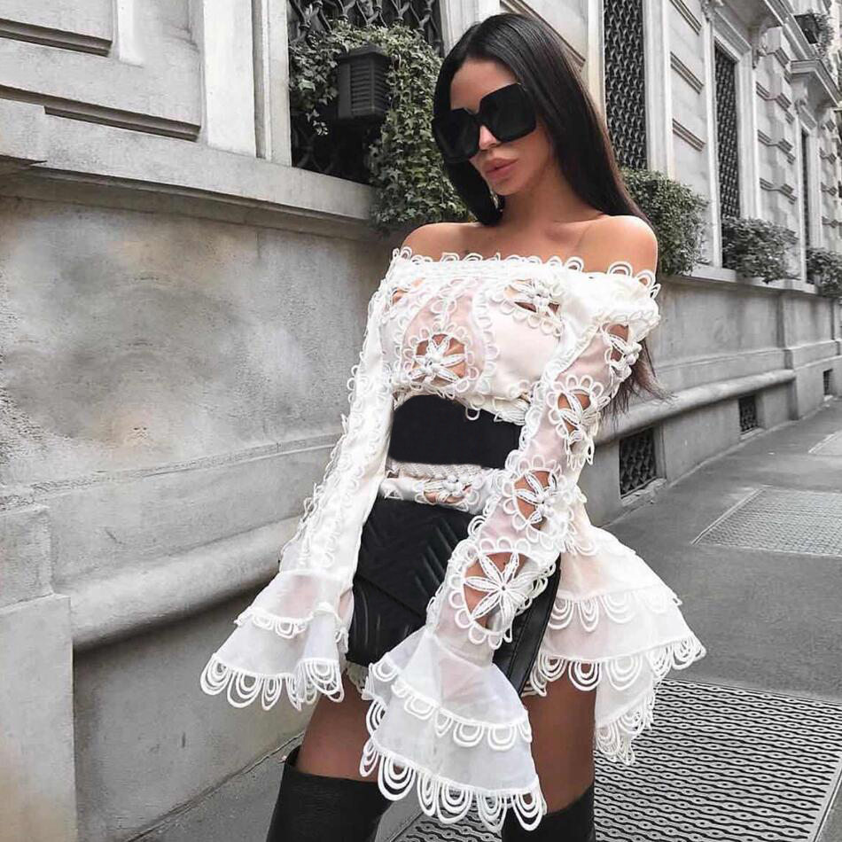 Adyce 2019 New Summer Chic White Celebrity Runway Party Dress Women Sexy O Neck Flare Sleeve
