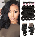 Peruvian Virgin Hair With Closure Body Wave 4 Bundles Vip Beauty Hair With Closure Wary Human Hair Extensions With Closure