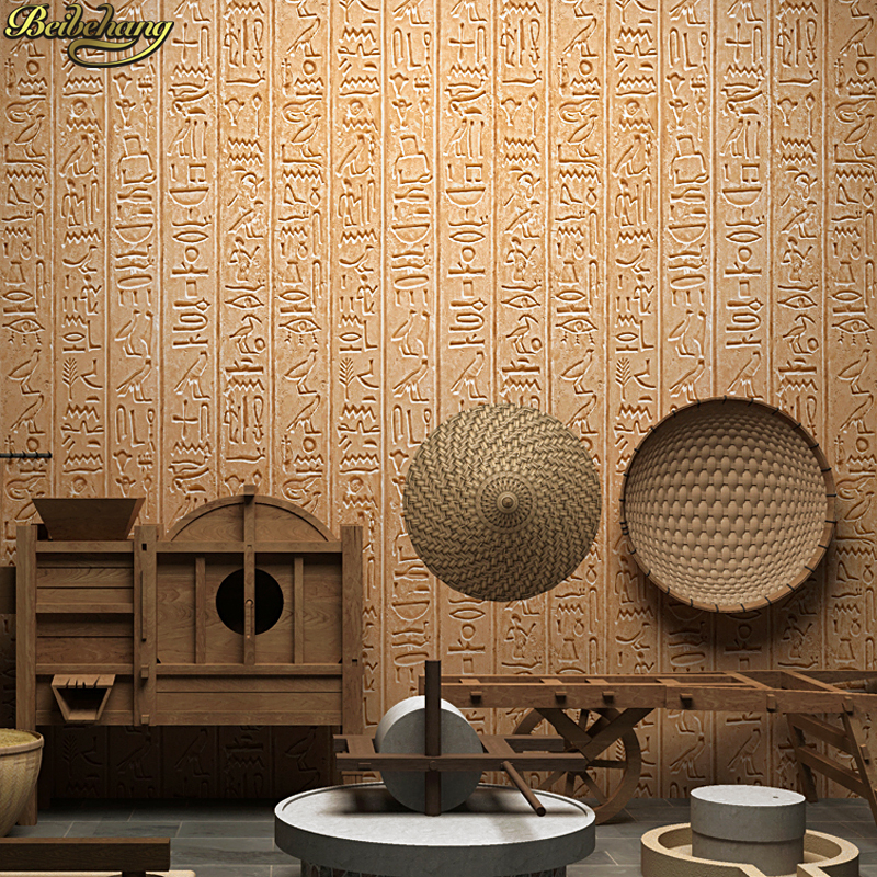Beibehang Papel De Parede Vintage Nostalgic Ancient Egyptian Culture Stone Hotel Wallpaper Antique 3d Background Wall Paper